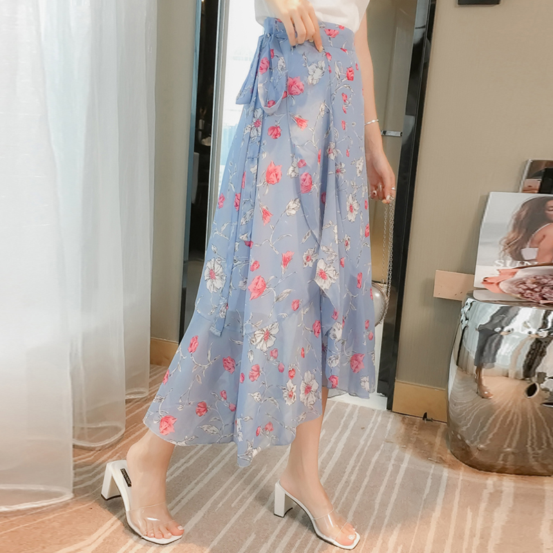 One Piece Skirts Womens Summer Holiday Beach Floral Chiffon Boho Skirt Black Korean 5 Style Split Sexy Bow Tie Wrap Skirt Ladies