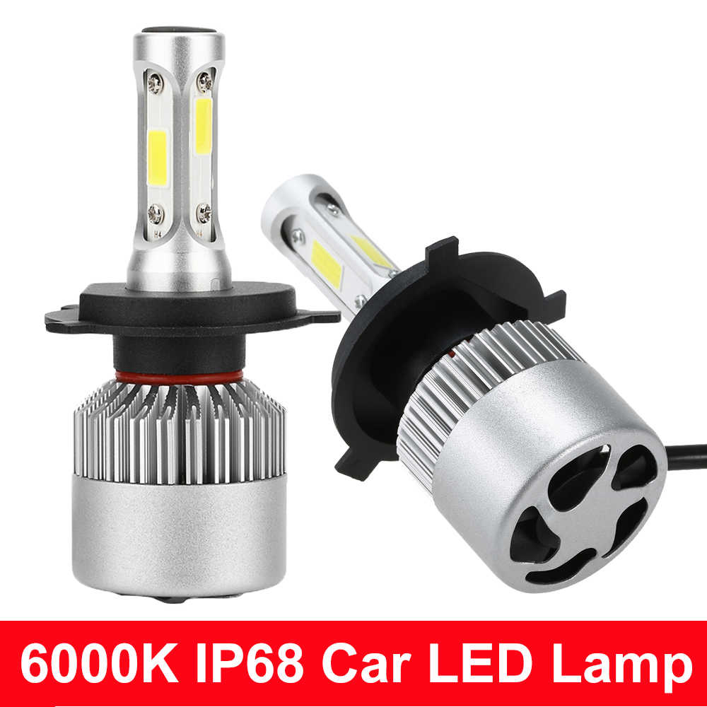 S2 6000K H4 H7 H1 COB Car LED Headlight Bulbs H11 12V 9005 9006 36W 3600LM Automobile LED Headlamp Car Styling Automotivo Light