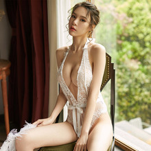 Yhotmeng new sexy temptation transparent pajamas lace hot slim  show hip design tights jumpsuit