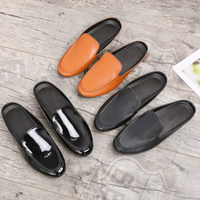 Summer Loafers Men Shoes Brown Bright Black Casual Boat Half Drag Flats Footwear Fashion Non-Slip Cheap