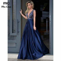 2018 Navy Blue Beaded Prom dresses Long Deep V Neck Draped Women's dress for graduation Formal Evening Prom Dress for Women