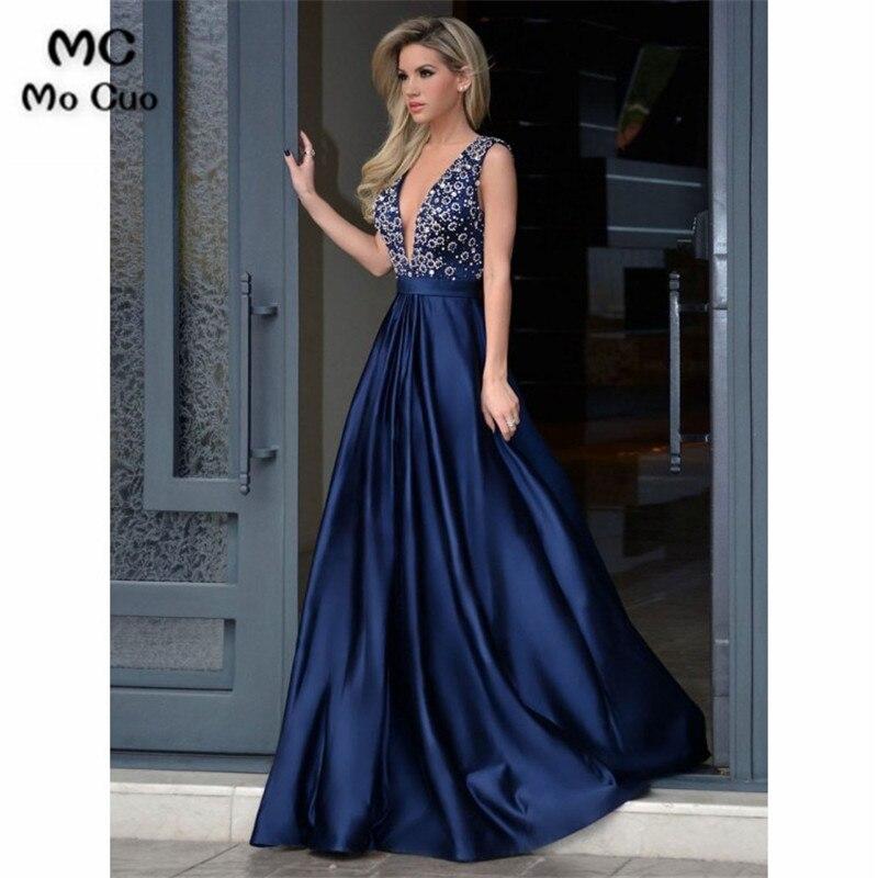 50a383ba31f 2018 azul marino con cuentas vestidos de baile de graduación largo con  cuello en V drapeado vestido de mujer para graduación Formal vestido de  fiesta de ...
