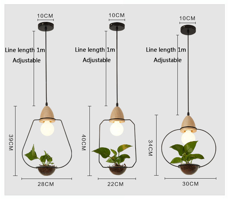 3 Pendant Light With Wood Art Deco Led Plant