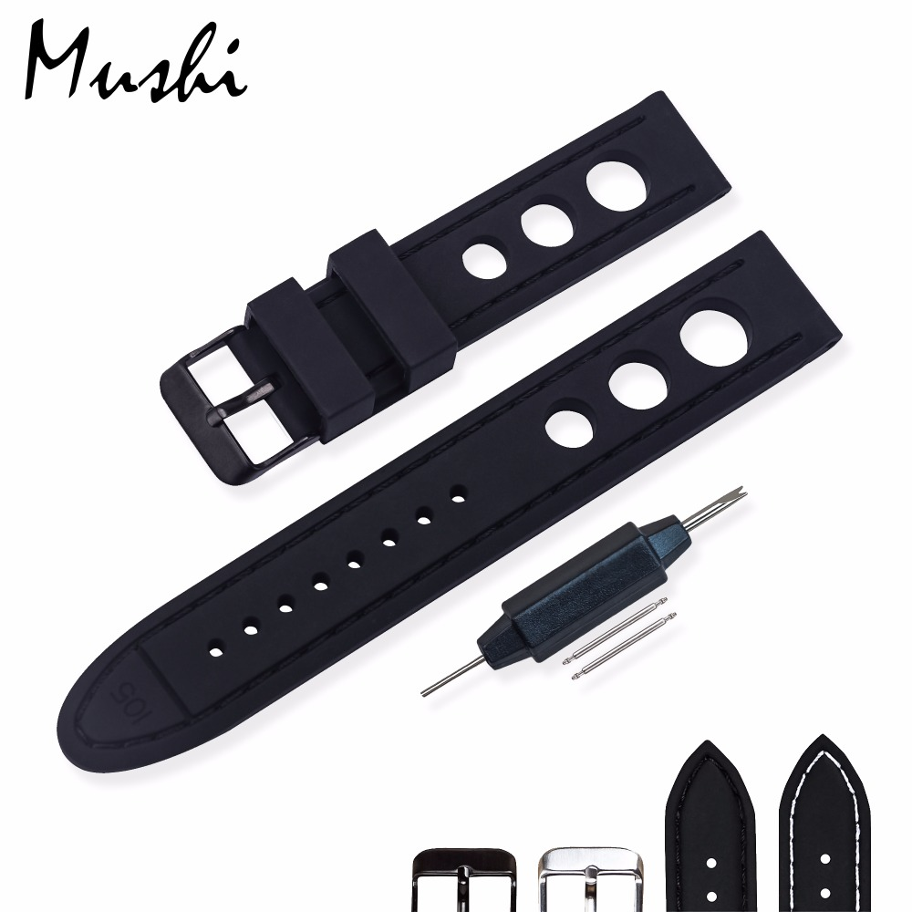 MS Silicone WatchBand Black Diver Watch Band Rubber Watch Strap with Brushed Stainless Steel Buckle Clasp 20mm 22mm Watch Strap цена