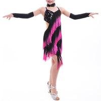 Rose Fringe Shiny Paillette Girl Latin Dance Dress Salsa Dresses Samba Fitness Flamenco Dancing Clothing Set