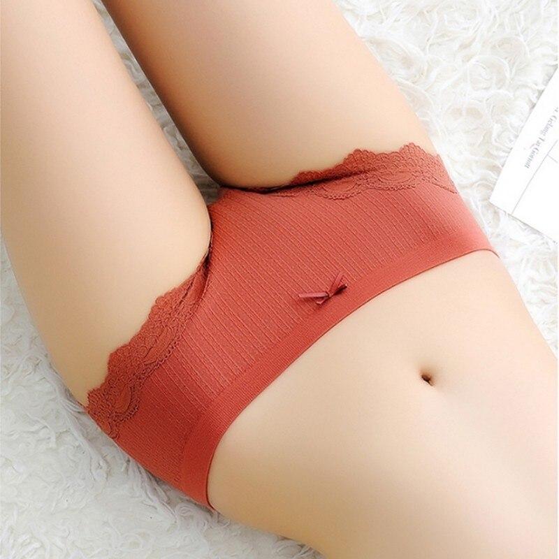 Panties Women Simple bielizna damska Mid Waist Sexy Lace Bow Modal Breathable Seamless Underwear Brief Women's panties
