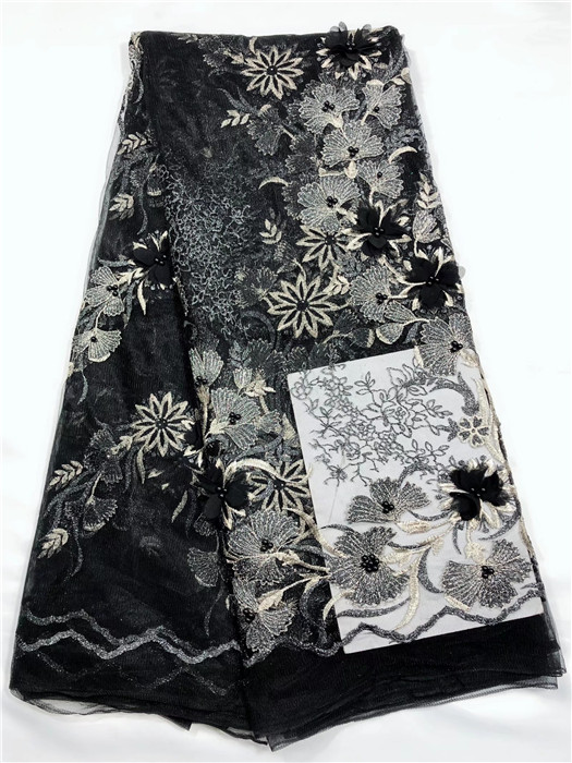 Nigeria Tulle Lace Fabric Embroidery Design 3D Flower Fabric High Quality African French Net Lace Fabric black(YJ 12 18