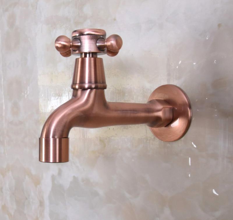 Antique cuivre rouge En Laiton Unique Croix Poignée robinet de Cuisine mur monté À Linge salle de bains Vadrouille Eau Du Robinet aav304