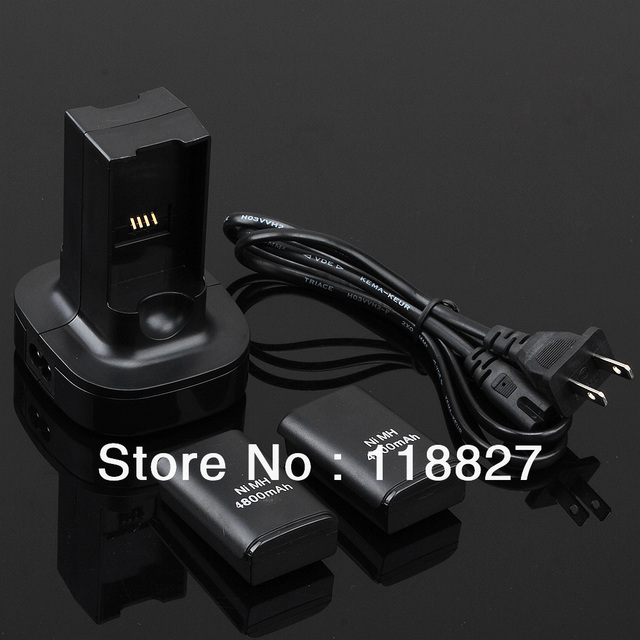 free shipping 4800mAh 5-in-1 for Xbox 360 Controller Dual Charger Base Charging Station Dock & 2 Rechargeable Battery