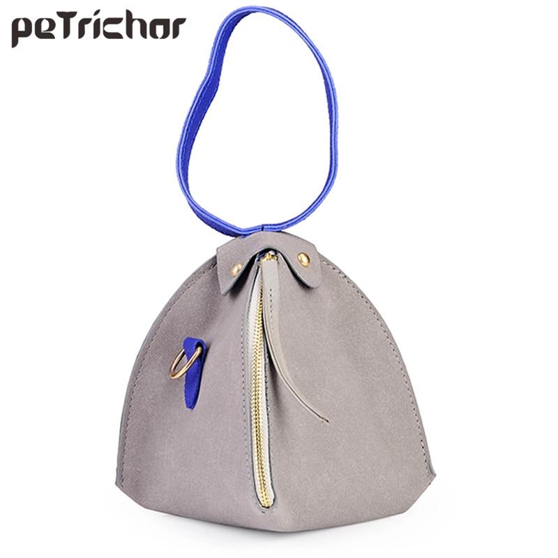 New Vintage Moda Mini Femei Bags Pantofi de umăr triunghiuri Femeie PU din piele Messenger Crossbody Bag Geantă de mână Purse Doamnelor