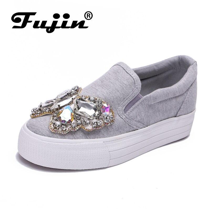 2019 nouveau automne femmes à la main Fujin strass plate-forme dames à lacets bout carré confortable chaussures décontractées respirantes