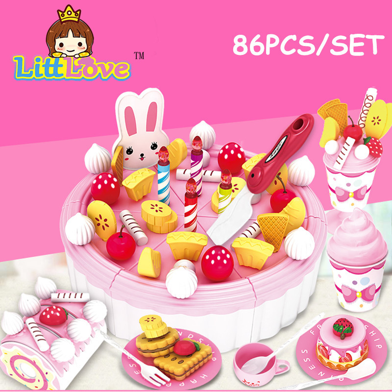 LittLove 86Pcs/pack DIY Birthday Cake Model Kitchen Toys For Children Kids Early Educational Pretend Play Classic Toy birthday cake