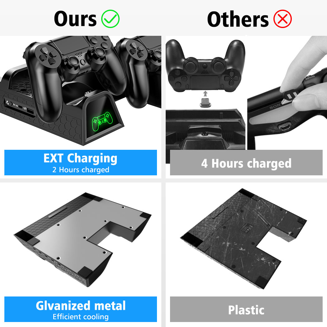 OIVO PS4/PS4 Slim/PS4 Pro Dual Controller Charger Console Vertical Cooling Stand Charging Station LED Fan For SONY Playstation 4 3