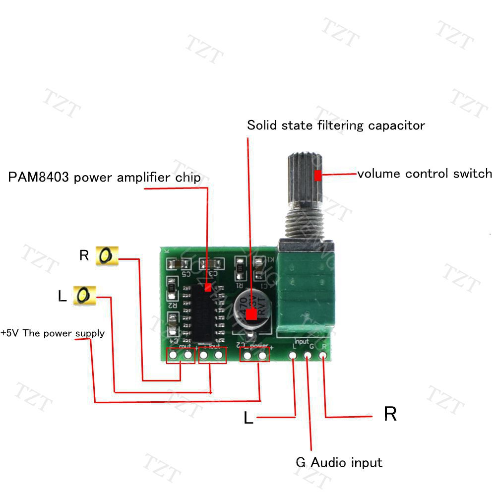 US $0 78 |1PCS PAM8403 5V Power Audio Amplifier Board 2 Channel 3W W Volume  Control-in Integrated Circuits from Electronic Components & Supplies on
