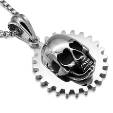 HIP Punk Gothic Gear Skull Pendants Necklaces Cool font b Silver b font 316L Stainless Steel