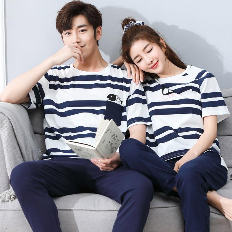 Pajamas-Set Couple Cotton Summer Short-Sleeve Striped Round-Neck Loose Leisure Men Plus-Size