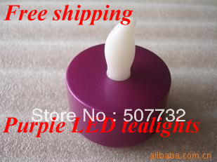 Free shipping 2013 New Year Decoration flameless Metallic Purple Base LED Tea Lights, flickering led candle light+1000pcs/lot
