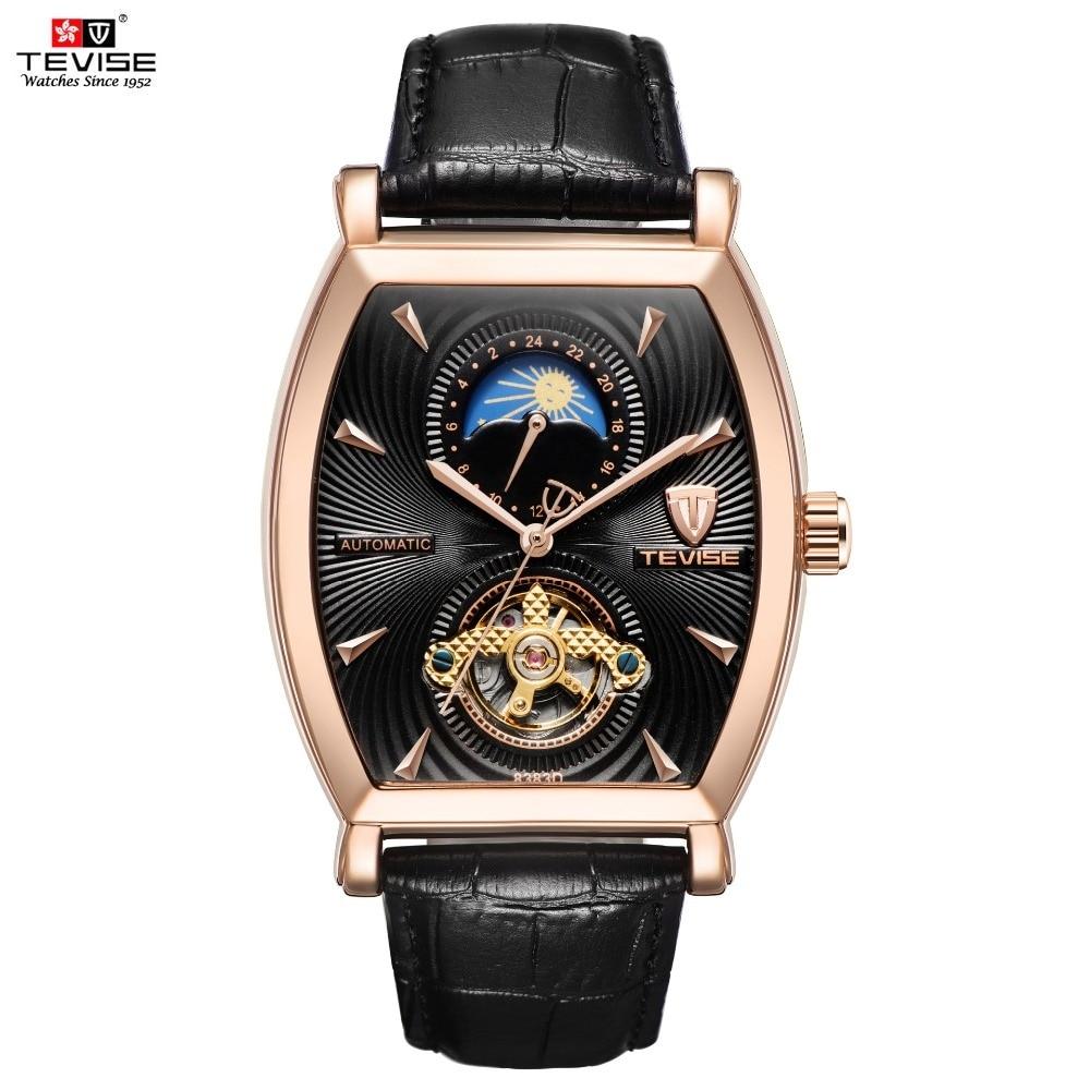TEVISE Mens Watches Tonneau Moon Phase Automatic Watch Waterproof Self-Wind Mechanical Wristwatches Leather Strap + Box 8383D надеждин н муслим магомаев солнечный голос