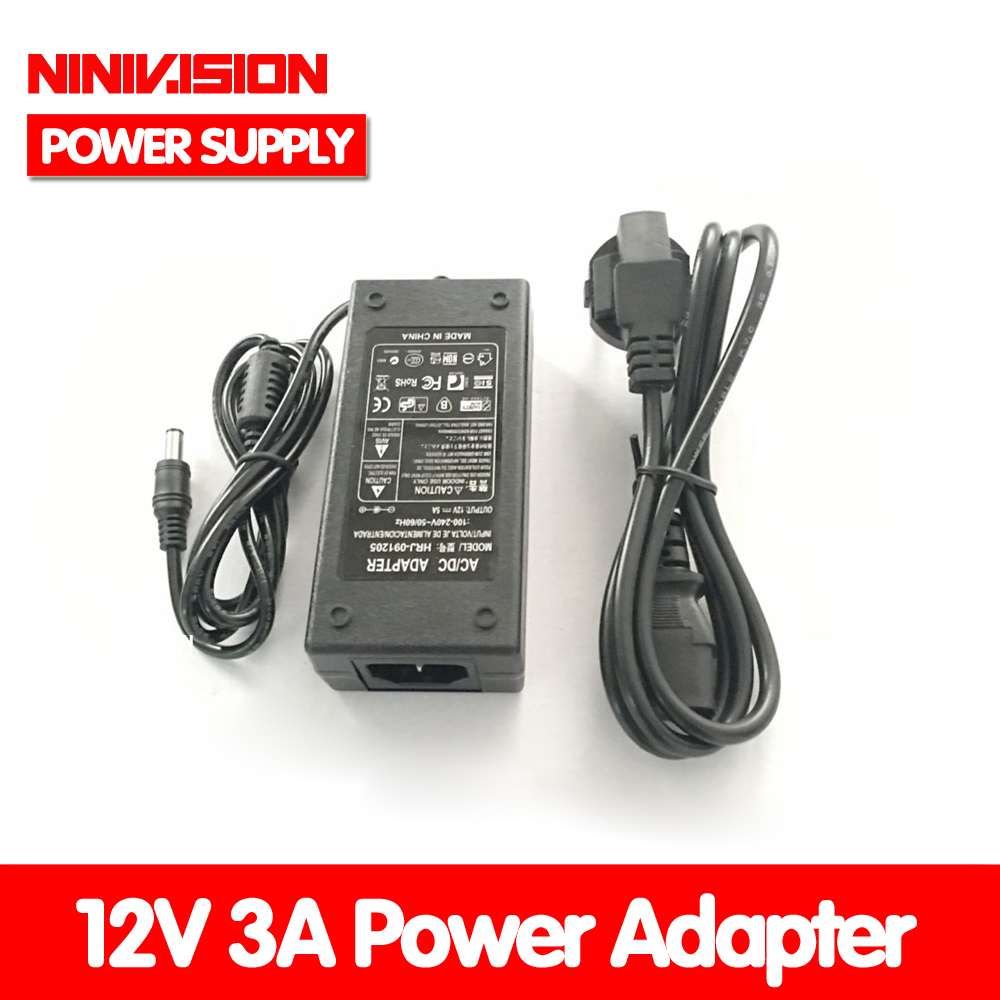 Lowest! 2014 New Hot Selling 12V 3A 36W AC For DC Power Supply Adapter For 2.1 & 2.5mm LED Strip Security Camera Free Shipping