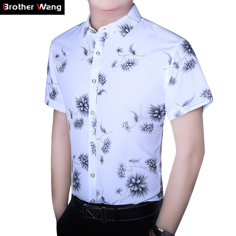 4-color Men's Casual Shirt 2019 Summer New Fashion Printing Short Sleeve White Shirt Male Brand Clothes Plus Size 5XL 6XL 7XL