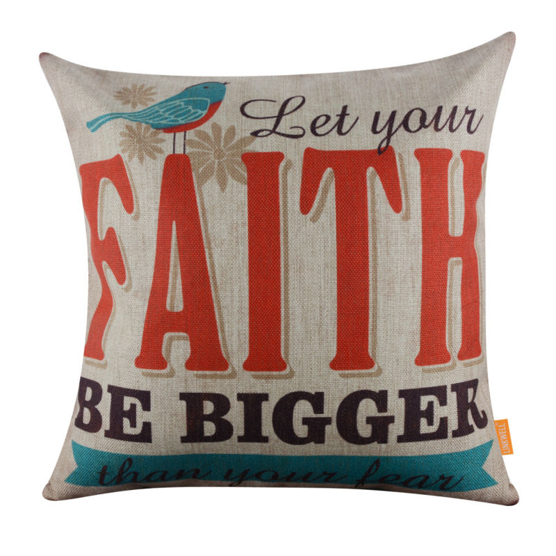 LINKWELL 45x45cm Let Your Faith Be Bigger than Your Fear Linen Cushion Covers Pillowcase Home Decor Sofa Decor Religious Words