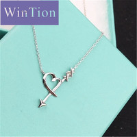 Tiff 100% 925 Sterling Silver Genuine Original New Fashion Zircon Anchor Clavicle Charm Women's Jewelry Necklace