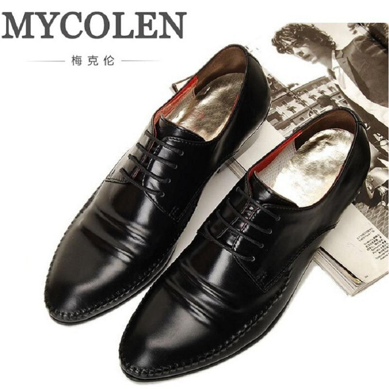 MYCOLEN New Men Shoes Business Genuine Leather Formal Dress Shoes Oxford Men Leather Shoes Lace-Up Pointed Toe British Style wholesale new men genuine leather lace up pointed toe checked men s oxford dress shoes high quality celebrity ankle boots