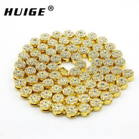 MEN S 1 ROW FLOWER SHAPE ICED OUT YELLOW GOLD PLATED HIP HOP BLING CZ MEN