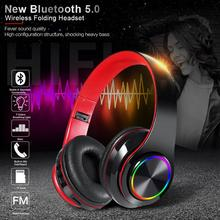 Bluetooth 5.0 Headset Wireless Light Folding Headphone TF Card For Mobile Computer Tablet Heavy Bass Portable Support FM bluetooth headset wireless headset supports tf card mobile computer tablet heavy bass folding portable adjustable