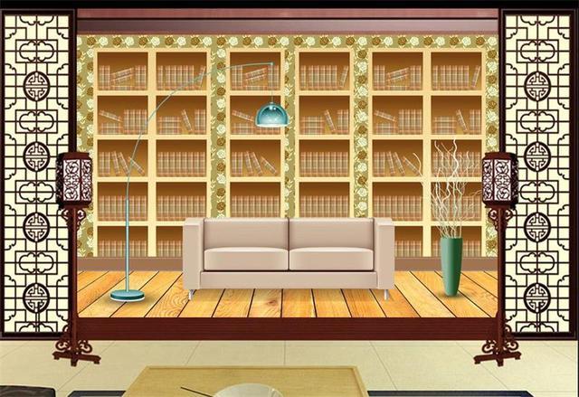 Custom Mural Wallpaper Room 3d Photo Golden Stereo Bookshelf Painting Sofa TV Background Wall