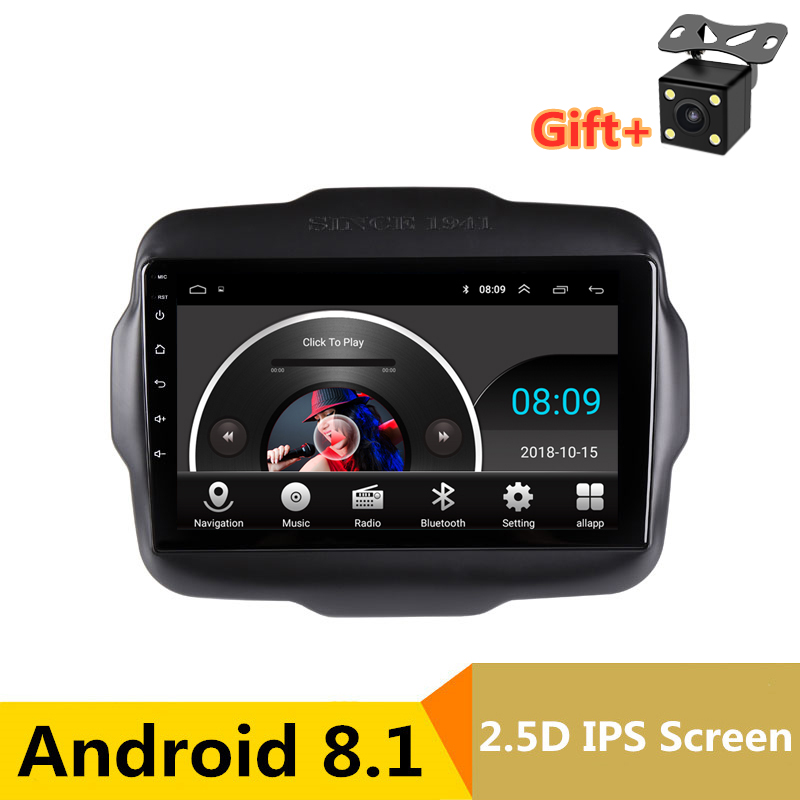 "9"" Android 8.1 Car DVD Video Player GPS For Jeep Renegade 2015 2016 2017 2018 radio audio stereo headunit navi bluetooth wifi"