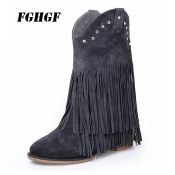 Thick high heel women's boots single boot straight leg casual loose ground leather fringed ankle boots The western boots 34-40