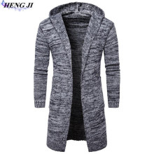 2017 new men's hooded and thickly knit cardigan, casual pure long sleeve, slim sweater jacket, high quality, free shipping