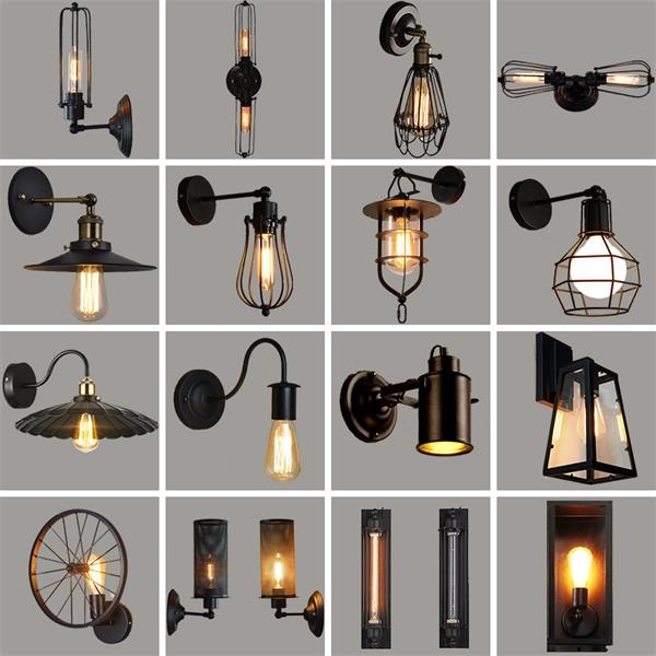 Vintage Loft Iron Wall Lamp black lampshade wall lamp cage guard Home sconce lighting fixture indoor LED lighting wall lamps