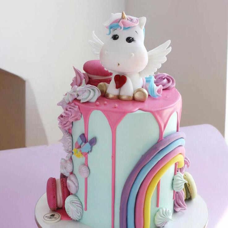 Единорог торт Топпер пирог на день рождения или свадьбу Радужный шарик облако торт Топпер День Рождения Вечеринка приборы для декорации выпечки