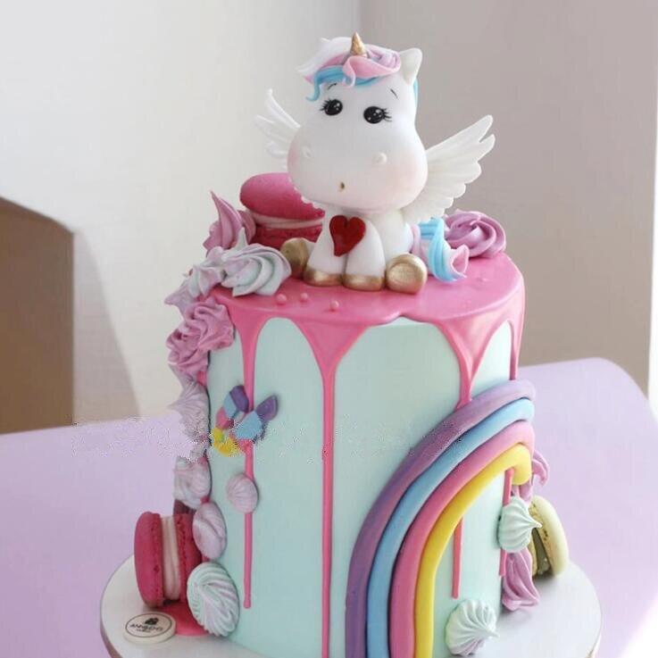 Unicorn Cake Topper Birthday Wedding Cake Rainbow Balloon Cloud Cake Topper Birthday Party Baking Decoration Supplies
