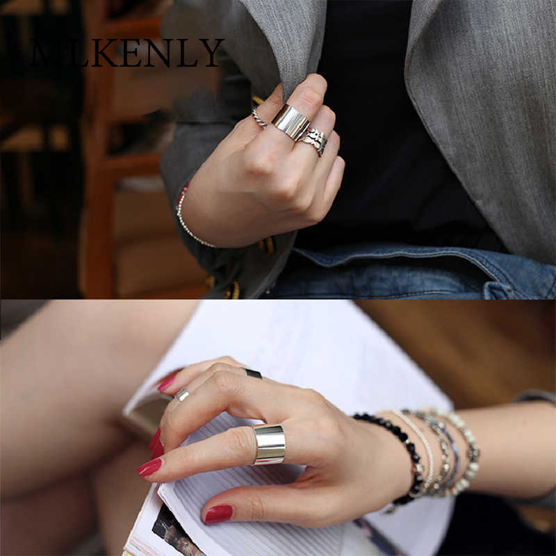 New 100% Celebrity 925 Sterling Silver Jewelry Wide Glazed Open Rings for Women Smooth Face Big Rings Punk Bijoux En Argent 925
