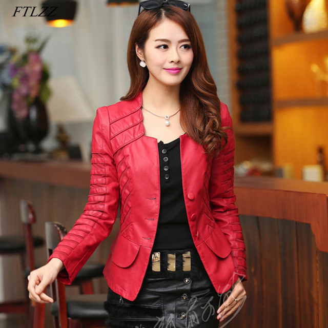 96e7a95bd59 FTLZZ New Plus Size 4XL Faux Leather Soft Pu Slim Motorcycle Jackets Autumn  Women Red Black