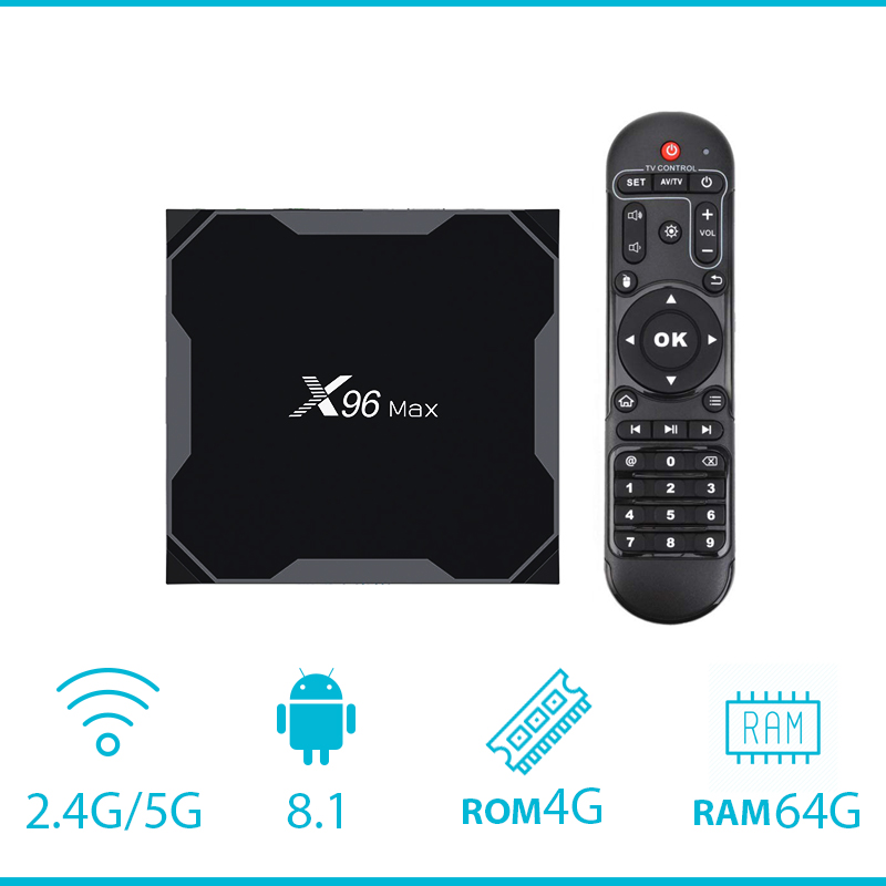 X96Max Smart TV BOX Android 8 1 Amlogic S905X2 LPDDR4 Quad Core 4GB 64GB 2 4G