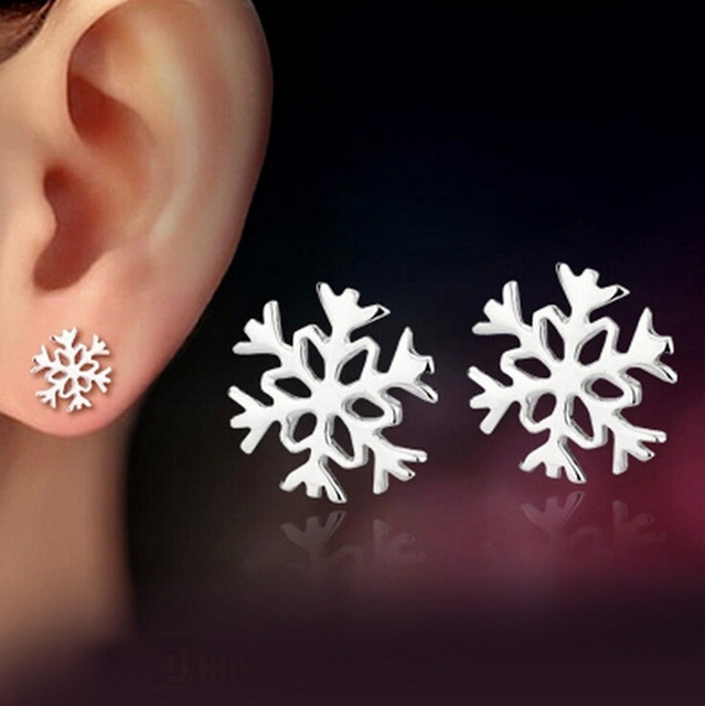 Lovely Snowflake Ear Studs Women's Tiny Sweet 925 Sterling Silver Earrings Elegant Jewelry EAR-0011