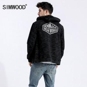 SIMWOOD 2019 الربيع الشتاء جديد زمم هوديس الرجال الشارع الشهير Heathered الأزياء إلكتروني الهيب هوب رياضي زائد بلوزات 180436