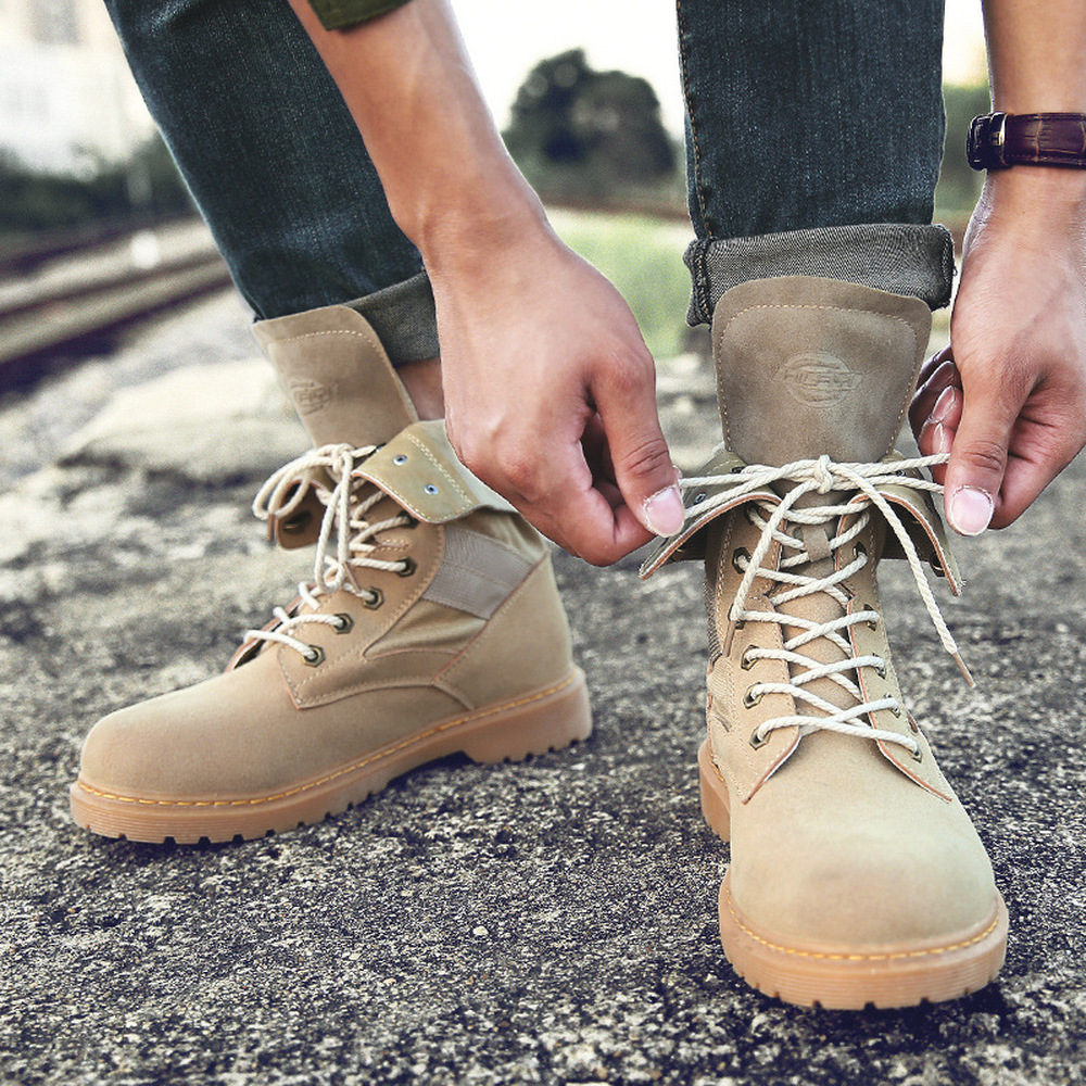 Men High Top Motorcycle shoes Leather Military Boots Solid Lace Up Tactical Boots