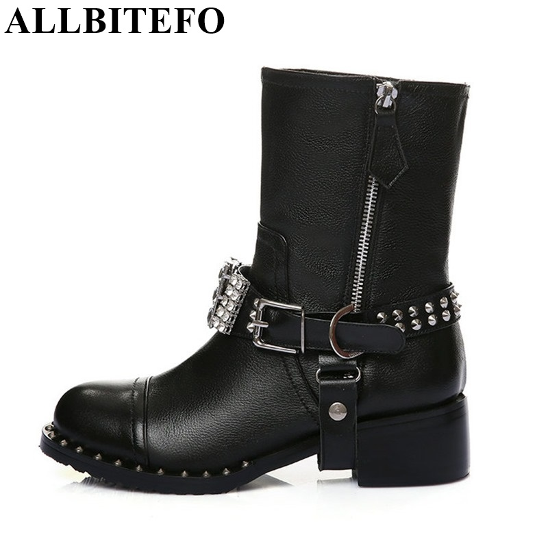 ALLBITEFO High quality genuine leather +PU rhinestone buckle rivets thick heel ankle boots 2017 fashion women boots martin boots 2018 new arrival genuine leather fashion boots thick heel winter shoe motorcycle boots rivets party runway women ankle boots l09