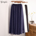 New Fashion 2016 Women's Elegant Dot Print Chiffon 3 Layers Long Skirt Ladies Slim High-Waist Elastic Waist Pleated Skirts SK16