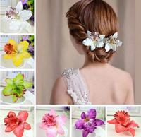 Hot Sell Fashion Charm Hairpin Delicate Beach Wedding Style Butterfly Orchid Hair Clips Hair Accessory Headwear 3pcs/lot