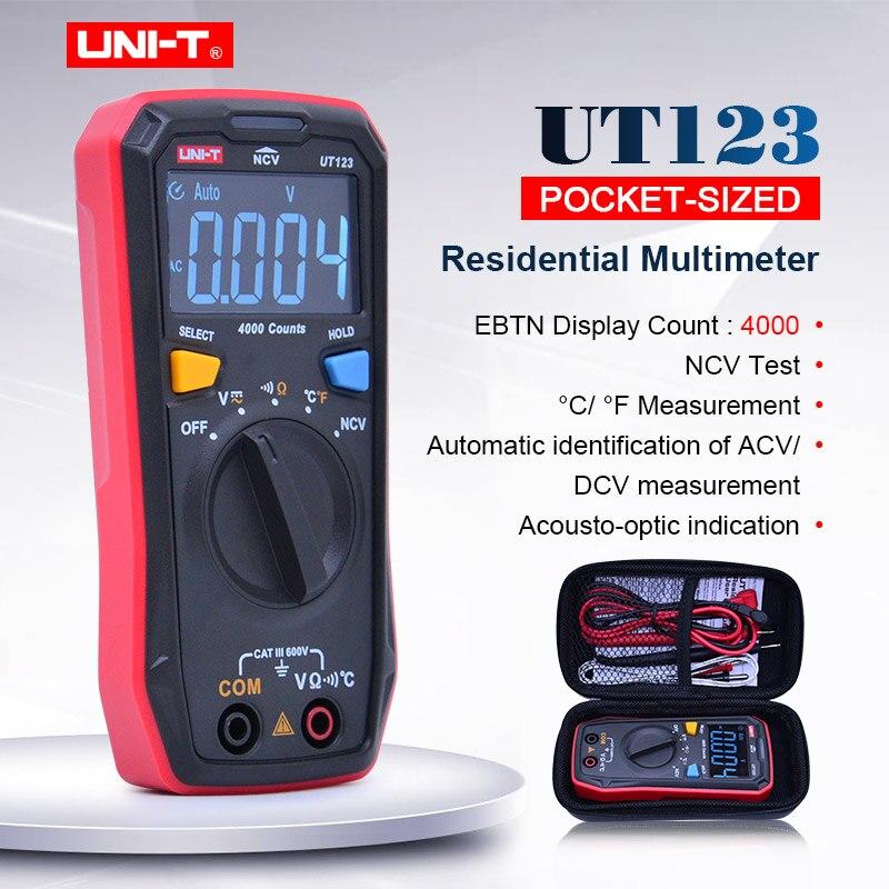 UNI-T Mini Temperatue UT123 Auto Faixa de Multímetro Digital AC DC Voltage ohmmeter tester NCV/Teste de Continuidade EBTN Ecrã a Cores