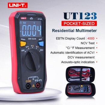 UNI-T Mini Multímetro Digital UT123 Rango Automático AC DC Voltaje Ohmímetro Probador De Temperatura NCV/prueba De Continuidad EBTN Pantalla De Color