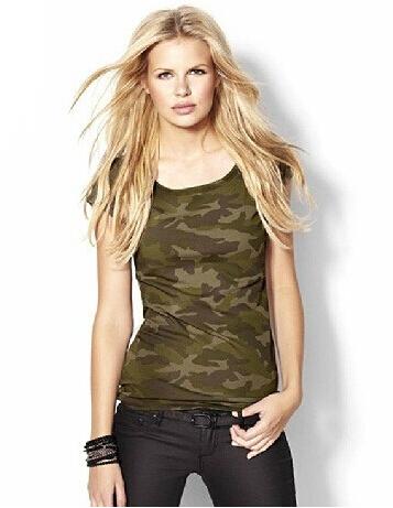 Camuflagem Mulheres Camiseta Topos de Estilo Militar Slim Fit 2017 Verão Mangas Curtas Frete Grátis