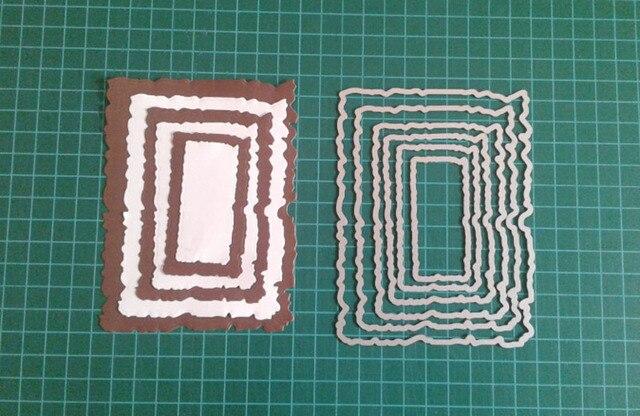 5pcs/Set Vintage Torn Rectangle Frame Metal Cutting Dies for DIY Scrapbooking Photo Album Embossing Paper Cards Decorative Craft