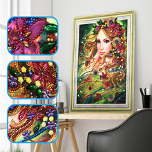 5d DIY Diamond Embroidery Special Shape Flower Fairy Embroidered Rhinestone Crystal Painting Home Decoration 40x50cm
